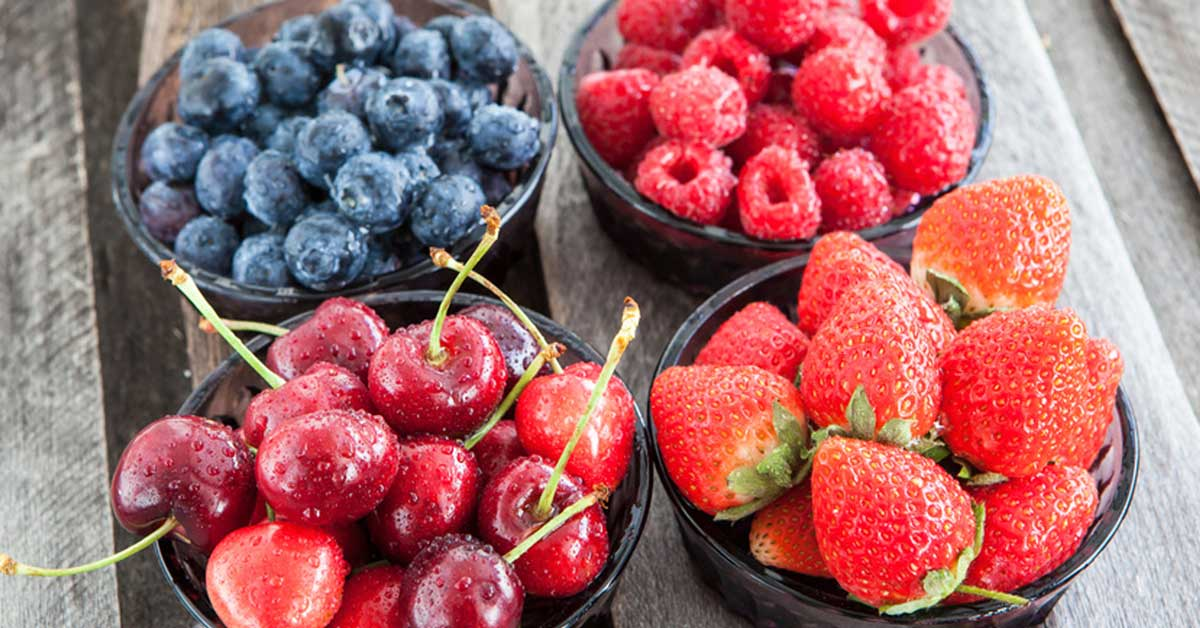 Low glycemic index fruits - fresh cherry, blueberry, strawberry, raspberry